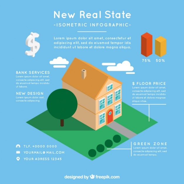 3d House Real Estate Infographic Vector