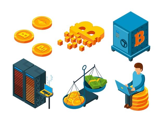 Криптовалюта 3d значок. бизнес ico блокчейн компьютерные технологии майнинг деньги биткойн глобальные финансы изометрия Premium векторы