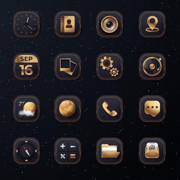3d icon set с современным золотым цветом Premium векторы