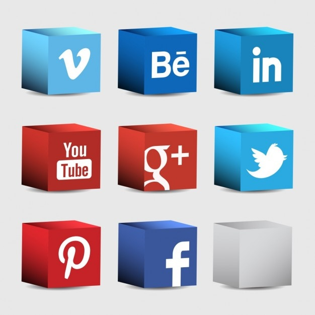 Social network simboli di blocchi et Vettore gratuito