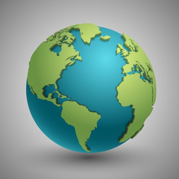 Земной шар с зелеными континентами. современная концепция карты мира 3d. зеленая планета с континентом illustra Premium векторы
