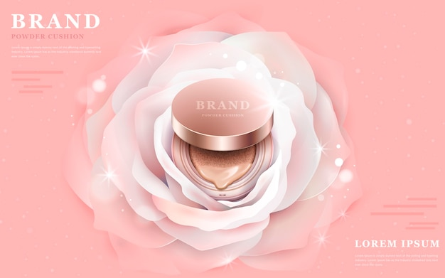 3d illustration foundation product in the central of a romantic white flower Premium Vector