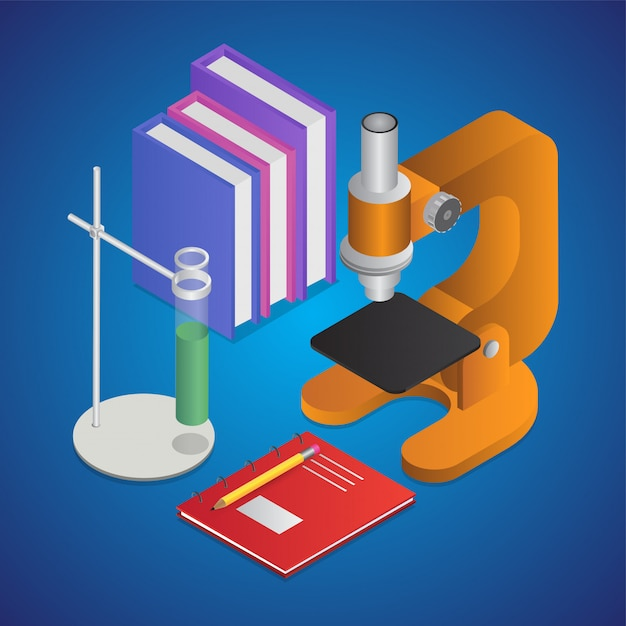 3d illustration of lab stand clamp with books, microscope and notebook Premium Vector