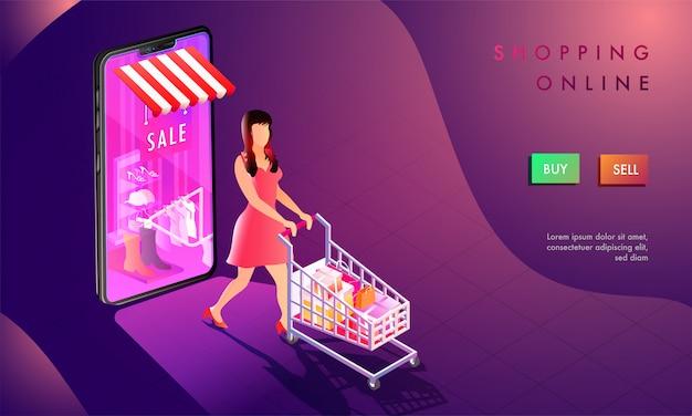 3d illustration of woman shop online. Premium Vector