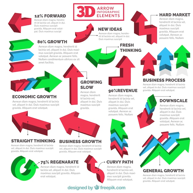 3d infographic arrow collection   Free Vector