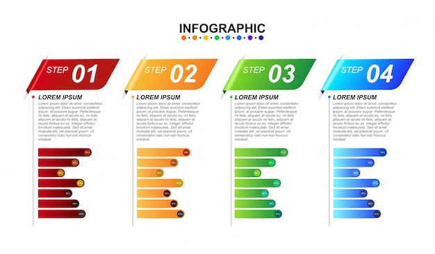 3d infographic design template for business 4 step options with chart. Premium Vector