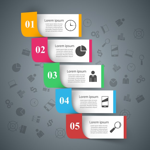 3d infographic design template and marketing icons Premium Vector
