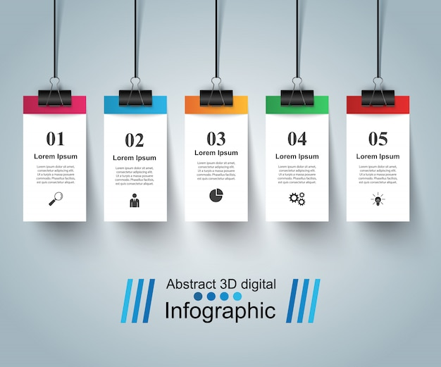 3d infographic design template and pin Premium Vector