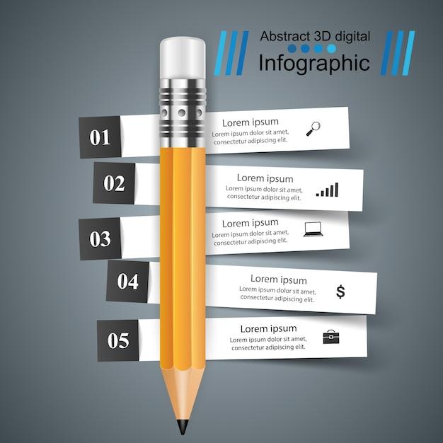 3d infographic design template Premium Vector