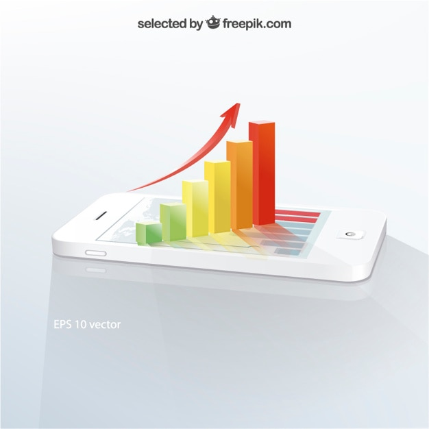 3d infographic on mobile phone Free Vector