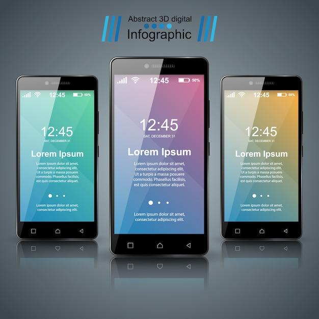 3D infographic. Smartphone icon. Premium Vector