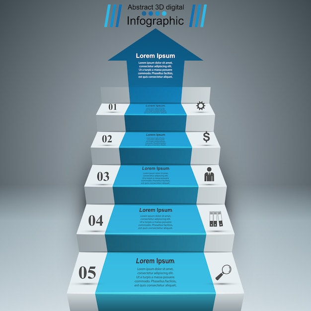 3d infographics and business ladder Premium Vector