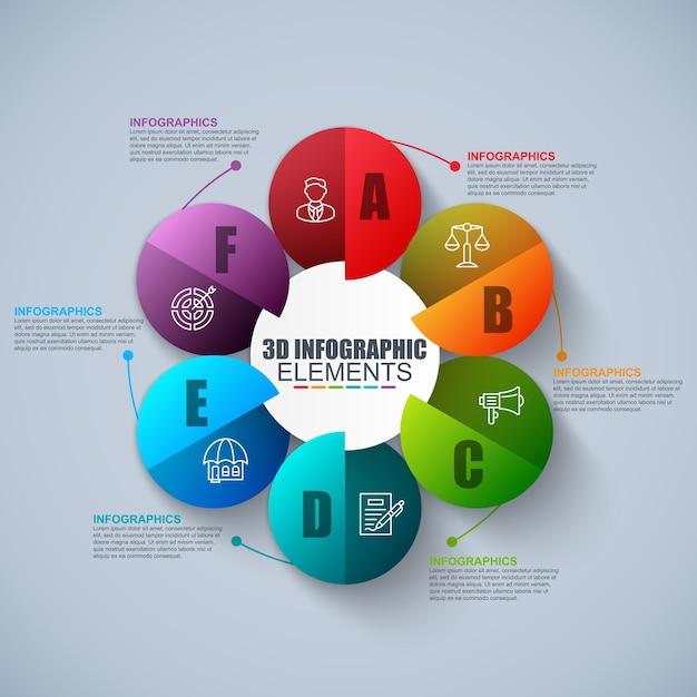プレゼンテーションビジネス3d infographics Premiumベクター