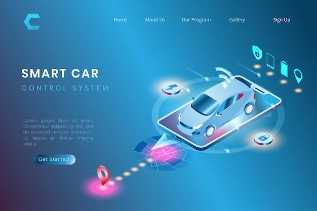 自律自動化システム、アイソメトリック3dスタイルのiotシステム制御を備えたスマートカーの図 Premiumベクター