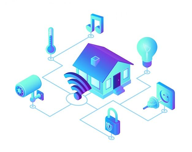 Система умного дома. 3d изометрическая система дистанционного управления домом. концепция iot. Premium векторы