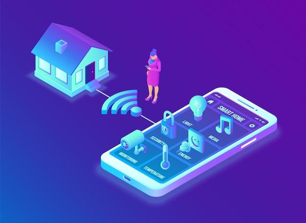 Концепция системы умный дом. 3d изометрическая система дистанционного управления домом. концепция iot. Premium векторы