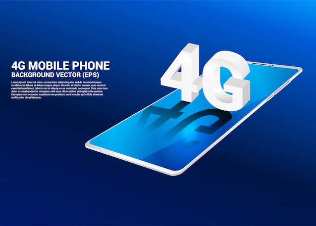 3d isometric 4g on mobile phone. concept for telecommunication technology and networking . Premium Vector
