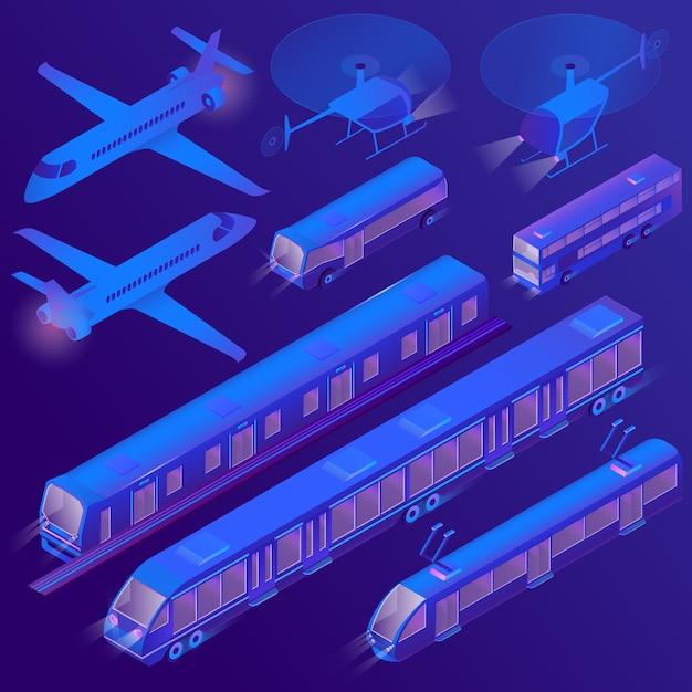 3d isometric air, land passenger transportation Free Vector