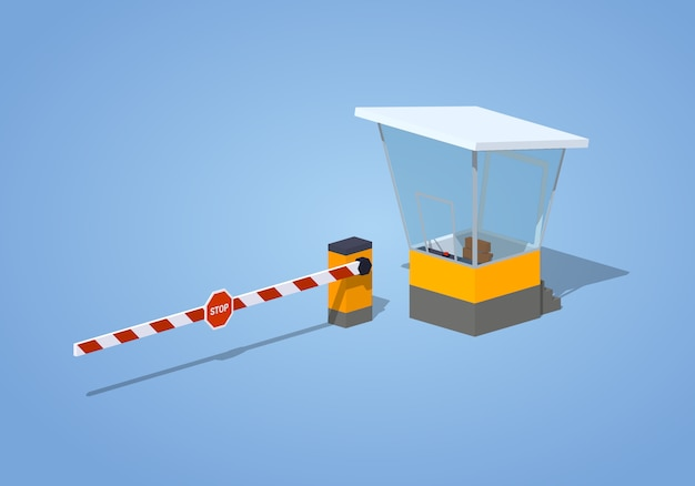 3d isometric barrier and toll booth Premium Vector