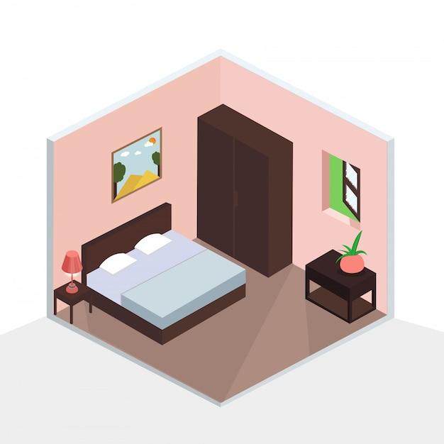 Premium Vector 3d Isometric Bedroom Interior Design