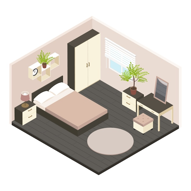 3d isometrico interno camera da letto Vettore gratuito
