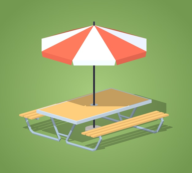 3d isometric cafe table with sun umbrella Premium Vector