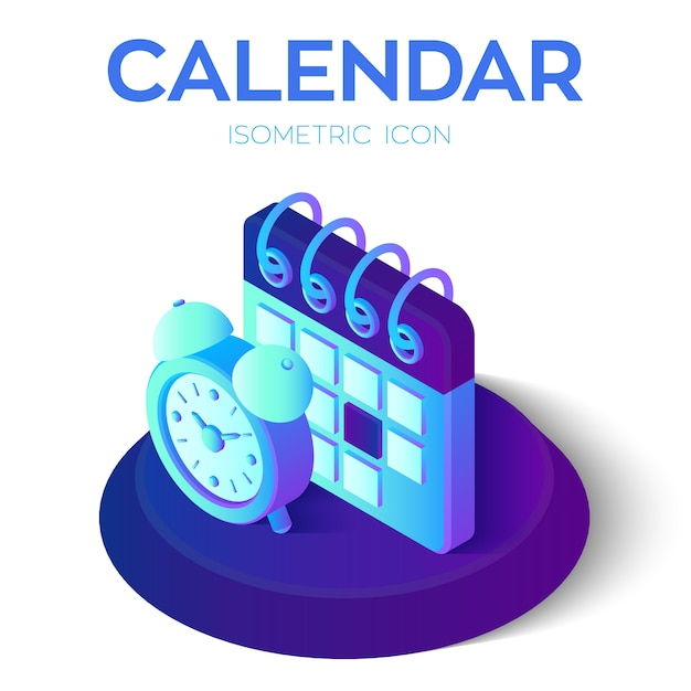 3d isometric calendar calendar with alarm clock. Premium Vector