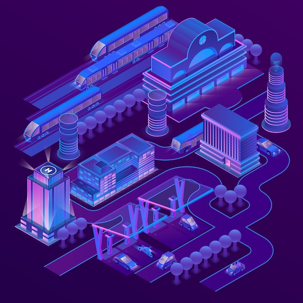 3d isometric city in ultra violet colors with\ modern buildings, skyscrapers, railway station