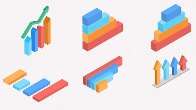 3d isometric  of colorful pie chart collection. Premium Vector