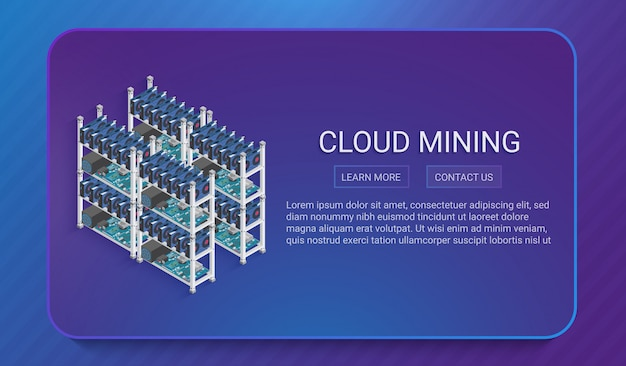 3d isometric digital currency or cryptocurrency mining farm concept in trendy soft gradient style. Premium Vector