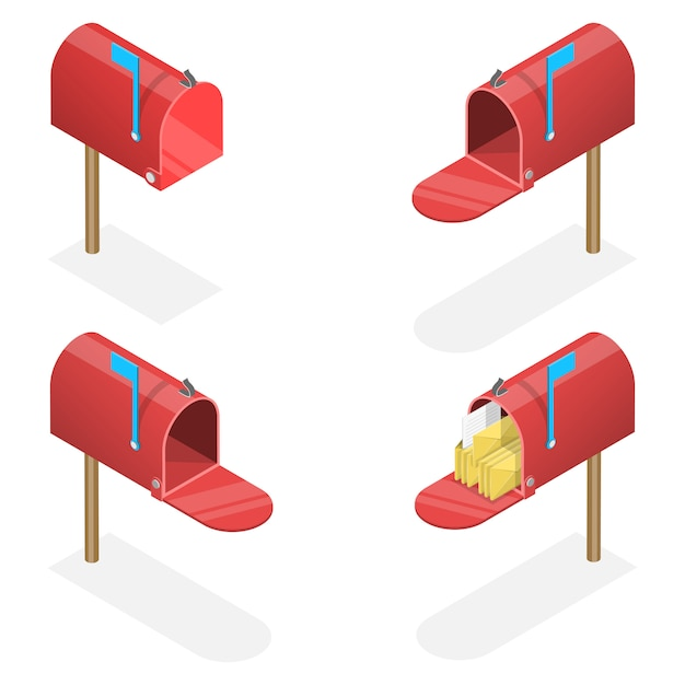 3d isometric flat set of mailboxes with a closed and open door, with and without letters. Premium Vector
