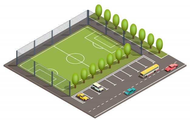 3d isometric football field, car parking Free Vector