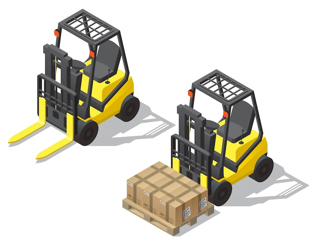 3d isometric forklift for storage, warehouse Free Vector