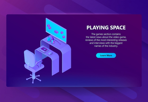 3d isometric gaming site, entertainment news Free Vector