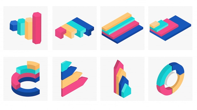 3d isometric infographic element set. Premium Vector