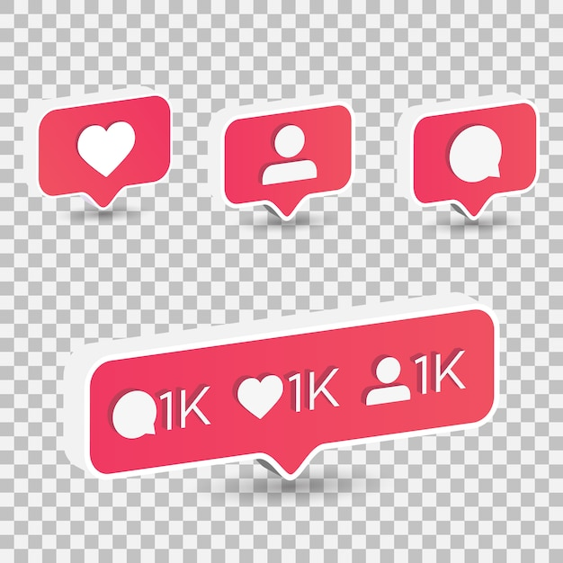 3d isometric like heart, follower, and comment icon on a red pin isolated on transparent background Premium Vector