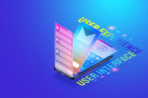 Premium Vector 3d Isometric Mobile App Ui Ux Design Illustration Creating And Design User Interface User Experience And Application Development Concept Vector