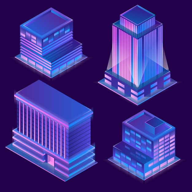 3d isometric modern buildings in cartoon style with neon illumination. Free Vector