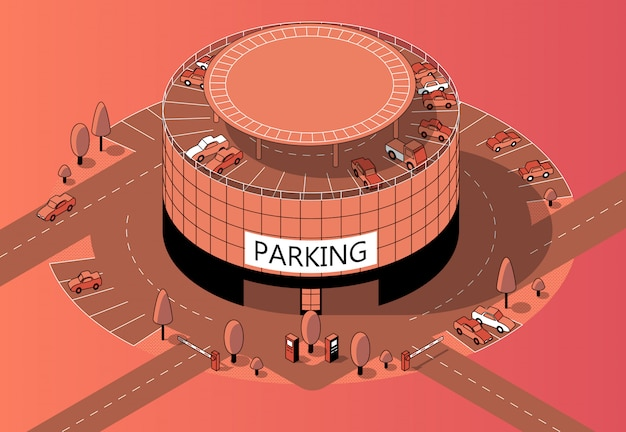 3d isometric multi-storey parking with territory Free Vector