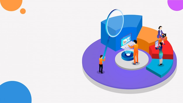 3d isometric  of pie chart, magnifying glass and business analytics. Premium Vector