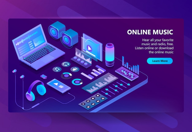 3d isometric site of listening music Vector | Free Download