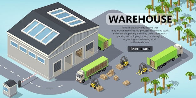 3d isometric site template - shipping, warehouse Free Vector