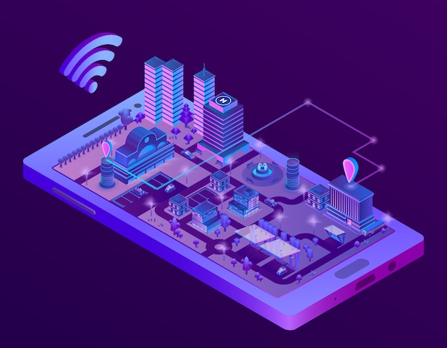 3d isometric smart city on smartphone screen, town map with navigation markers Free Vector