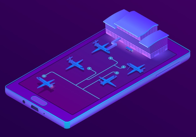 3d isometric smartphone - booking of tickets Free Vector