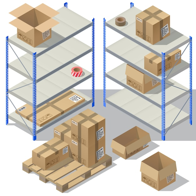 3d isometric storage of post service. set of cardboard packaging, mail with adhesive tapes Free Vector