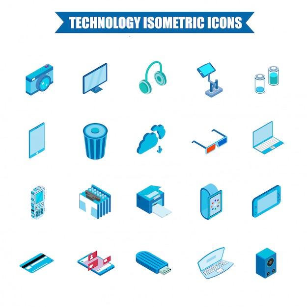 3d isometric technology icon set. Premium Vector