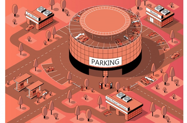 3d isometric territory with multi-storey parking Free Vector