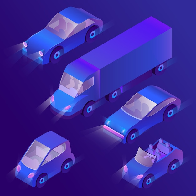 3d isometric violet cars with headlights Free Vector