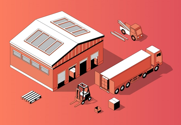 3d isometric warehouse with truck, forklift Free Vector