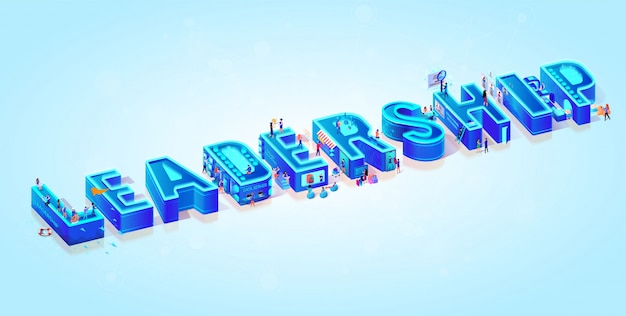 3d isometric word leadership and little people Premium Vector